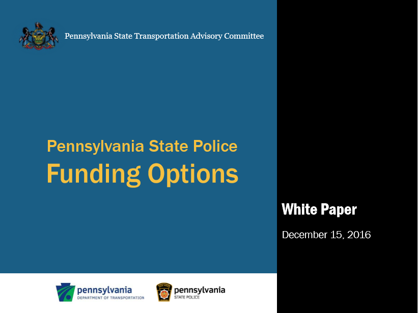 Pennsylvania State Police Funding Options White Paper cover
