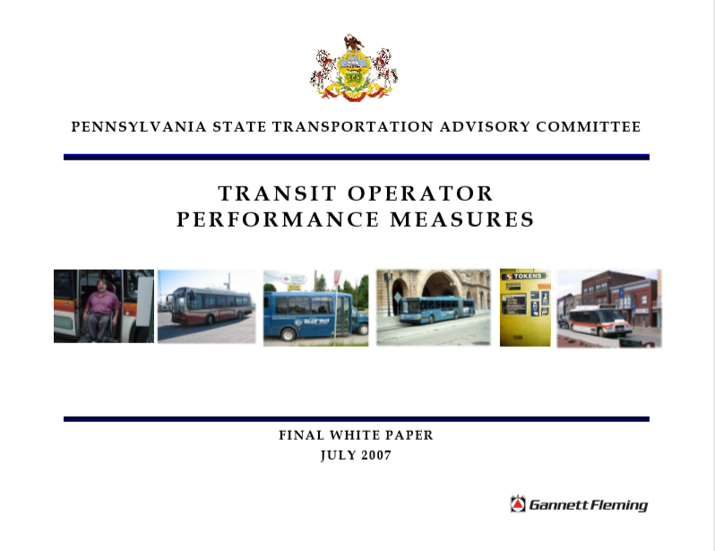 Transit Operator Performance Measures - White Paper cover