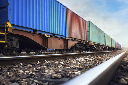 Multicolored rail freight on a track